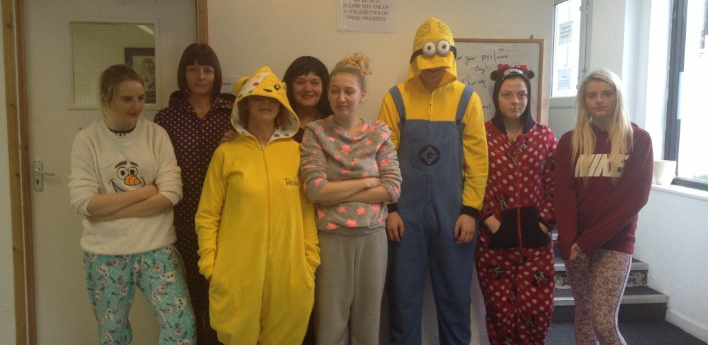Students wear Onesie's to raise money for Children in Need